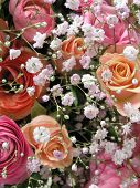 picture of beautiful flower  - close up shot of a beautiful wedding bouquet with champage roses   - JPG