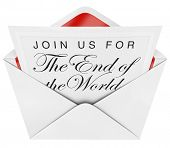 Join Us for the End of the World is written on a formal invitation you have opened in an envelope, w