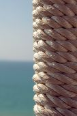 White Nautical Rope Bundle, Close Up Photo. poster