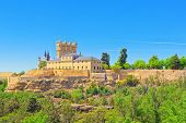 Panoramic Landscape At The Ancient City Segovia, Alcazar Of Sego poster