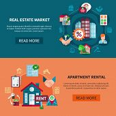 Two Real Estate Banner Set With Apartment Rental And Real Estate Market Headlines Vector Illustratio poster