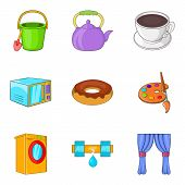 Children Treat Icons Set. Cartoon Set Of 9 Children Treat Vector Icons For Web Isolated On White Bac poster