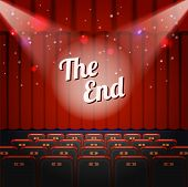 End Show Concept. Cinema And Theatre Hall With Seats, Closed Curtain And Title The End. Vector Illus poster