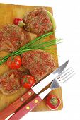roasted spicy meat over white with cutlery poster