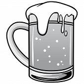 Mug Of Beer Illustration - A Vector Cartoon Illustration Of A Mug Of Beer. poster