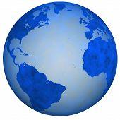 picture of eastern hemisphere  - A Big Blue Textured Earth Globe view of eastern and western hemispheres - JPG