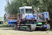 Rice Header Combine Harvester. Old Rusty Combine Harvester. Combine Harvesters Agricultural Machiner poster