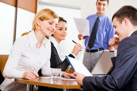 stock photo of business meetings  - Business people are discussing a new project in the conference room - JPG