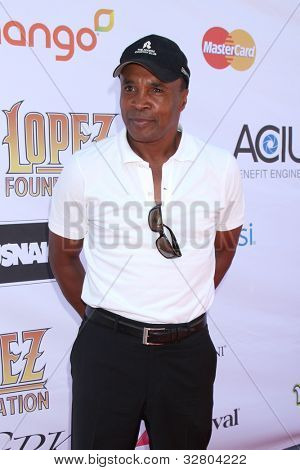 LOS ANGELES - MAY 7:  Sugar Ray Leonard arrives at the 5th Annual George Lopez Celebrity Golf Classic at Lakeside Golf Club on May 7, 2012 in Toluca Lake, CA