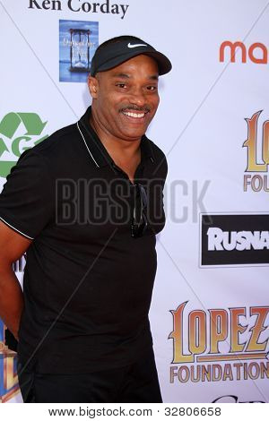 LOS ANGELES - MAY 7:  Rocky Carroll arrives at the 5th Annual George Lopez Celebrity Golf Classic at Lakeside Golf Club on May 7, 2012 in Toluca Lake, CA