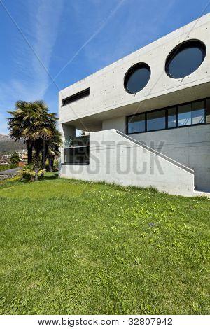 hermosa casa modernista en la fachada exterior, cemento,