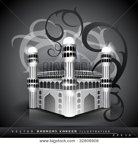 Glossy  Mosque or Masjid  on floral abstract background, isolated on grey color. EPS 10. Vector illustration.