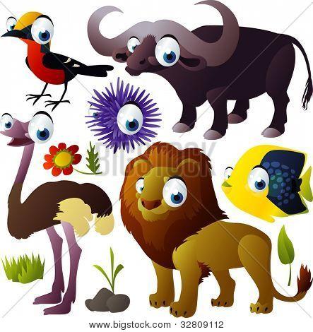 vector animal set: bird, buffalo, fish, urchin, lion, ostrich