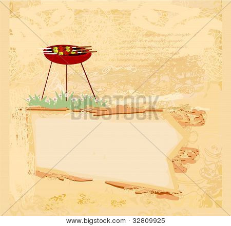 grunge Barbecue Party Invitation card , vector illustration