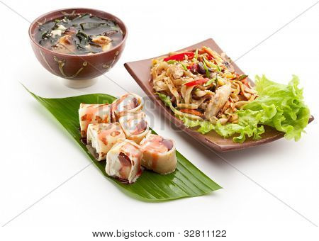 Japanese Meal - Noodles with Chicken, Dessert Fruit Maki Sushi and Miso Soup (Seaweed, Mushrooms and Tofu Cheese)