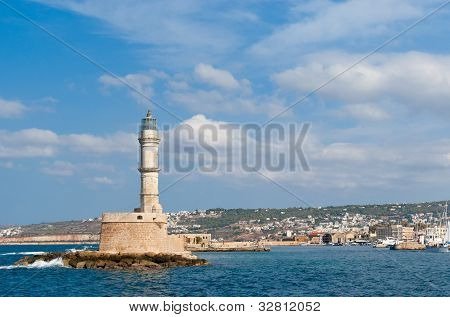 View On Venetian Lighthouse And Harbour In Chania