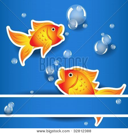 Cartoon Goldfih Label With Bubbles Over Blue Card