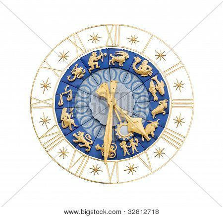 Medieval Clock With Zodiac Signs Cutout