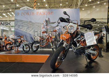 KIEV, UKRAINE - APRIL 29: A new KTM motorbike is on display at the International Specialized Exhibition,