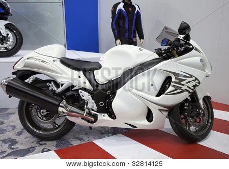 KIEV, UKRAINE - APRIL 29: A new Suzuki Hayabusa  motorbike is on display at the International Specialized Exhibition,