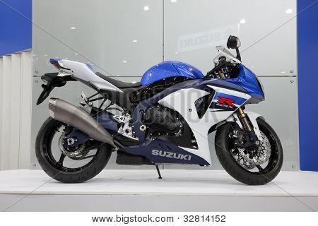 KIEV, UKRAINE - APRIL 29: A new Suzuki GSX-R motorbike is on display at the International Specialized Exhibition,