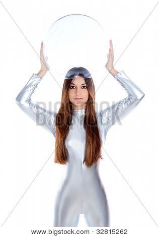 brunette futuristic silver woman holding sphere glass helmet