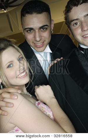 Multi-ethnic friends at prom