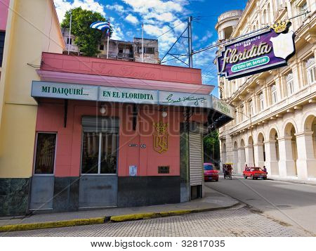 HAVANA-MAY 4:The historic Floridita restaurant May 4,2012 in Havana.The birthplace of daiquiri,a famous cuban cocktail,El Floridita was a favorite of celebrities like Ernest Hemingway