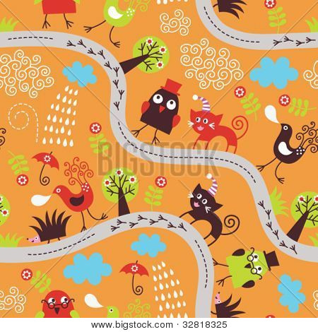 seamless pattern with birds and cats
