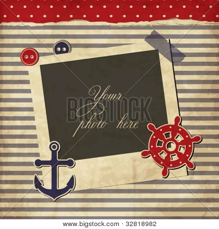 Nautical vintage card, scrapbook template with frame for your photo