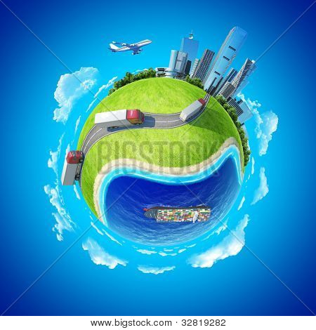 Mini planet concept. Trucks on the highway heading to the city on horizon, huge cargo ship in the ocean. Delivery, transportation expedition concept. Earth collection.