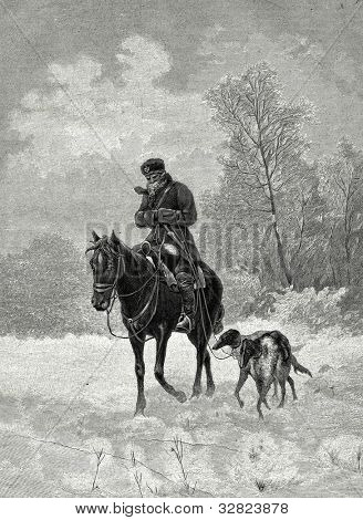 Hunting with Hound Dog. Engraving by Rashevsky from picture by  Galkin. Published in magazine