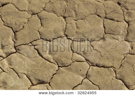 Closeup view of a dry lake bed