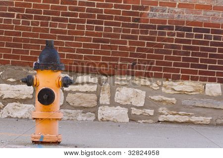 Typical fire hydrant against a brick wall on a city street