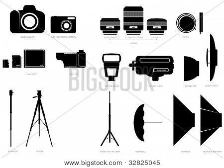 Vector conjunto de silhuetas abstratas com câmera e acessórios fotográficos
