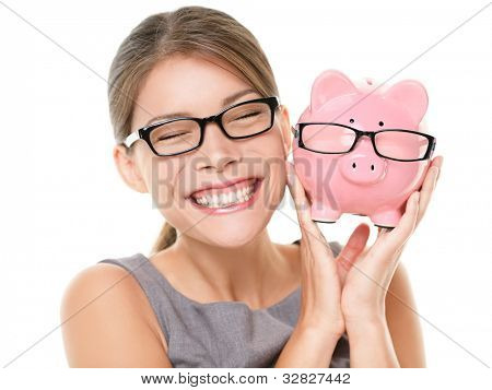 Glasses eyewear savings piggybank. Woman happy excited over saving money buying glasses. Young beautiful multiracial Caucasian / Chinese Asian woman isolated on white background.
