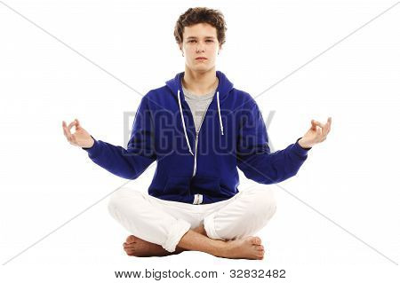 Barefoot Handsome Man Doing Yoga