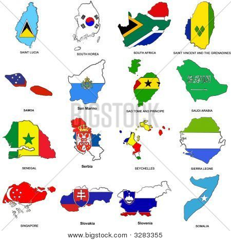 World Flag Map Sketches Collection 11
