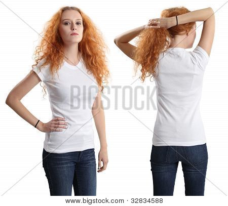 Pretty Female Wearing Blank White Shirt