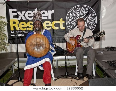 Chartwell Dutiro Plays The Mbira To A Packed Acoustic Cafe At The Exeter Respect Festival.