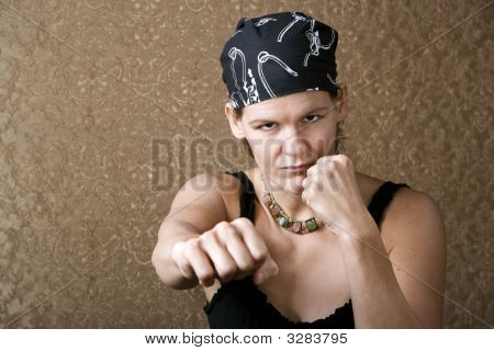 Pretty Boxing Woman Wearing A Bandana
