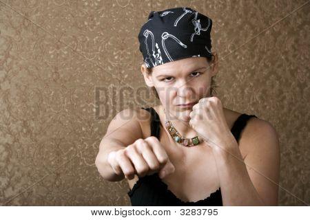 Pretty Boxing Woman Wearing A Bandana