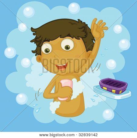Illustration of a boy showering
