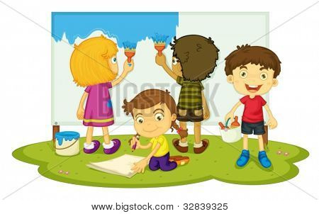 Illustration of four children painting