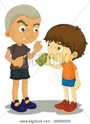 Illustration of a bully taking money