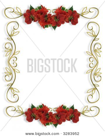 Christmas Border Poinsettias Illustration