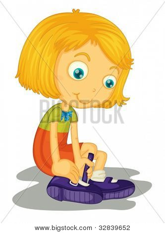 Illustration of girl with shoes