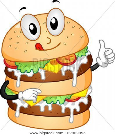 Mascot Illustration Featuring a Burger with Double Patties