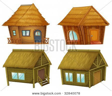 Wooden cabins on a white background - EPS VECTOR format also available in my portfolio.