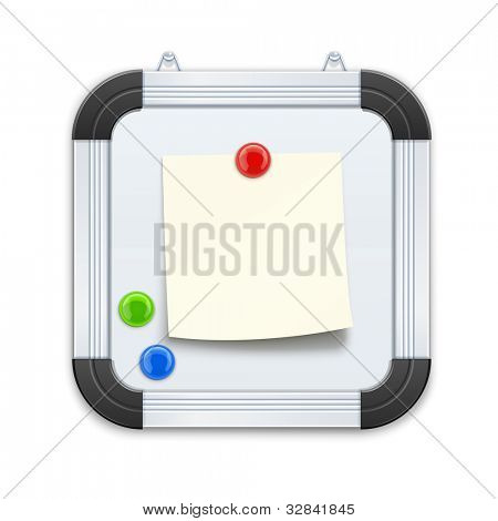 white board with notice and magnet vector illustration isolated on black background EPS10. Transparent objects and opacity masks used for shadows and lights drawing